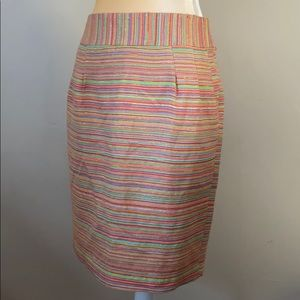 Milly Size 8 Gold Thread Multi Color Pencil Skirt